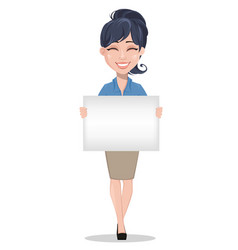 Business woman holding blank placard vector