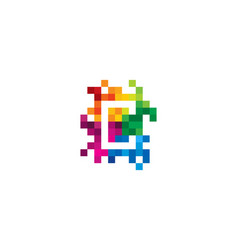 C letter mosaic pixel logo icon design vector
