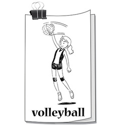 Card with girl playing volleyball vector