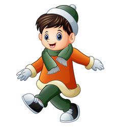 Cartoon boy in winter clothes walking vector