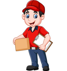 Cartoon delivery courier holding clipboard and car vector