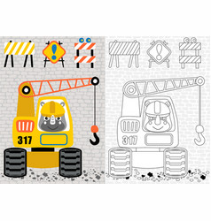 Cartoon rhinoceros driving heavy tools vector