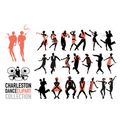 Charleston dance clipart collection set jazz vector