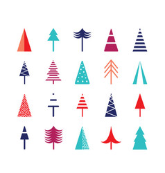 christmas tree icon set for web vector image