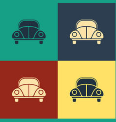 Color car volkswagen beetle icon isolated on color vector
