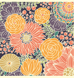 Colorful pattern with stylized flowers hand vector