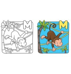 Coloring book of funny monkey on lians Alphabet M vector