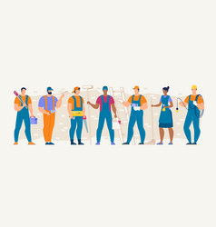 Construction repair cleaning service workers set vector