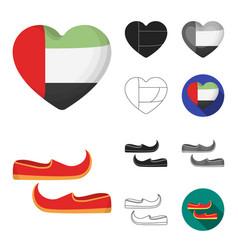 country united arab emirates cartoonblackflat vector image