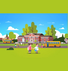 couple pupils hold hands school building yard vector image