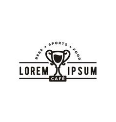 cup beer vintage retro sport bar cafe tavern logo vector image