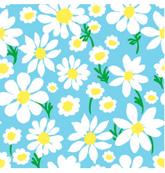 Daisy allover blue with stems vector