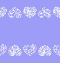 Decorative horizontal border from doodle hearts vector
