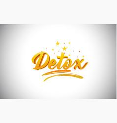 Detox golden yellow word text with handwritten vector