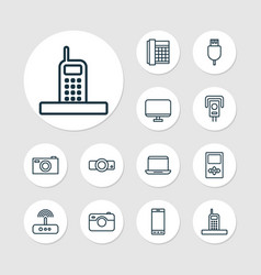 device icons set with smartphone modem media vector image