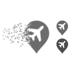 Disintegrating pixel halftone airplane marker icon vector