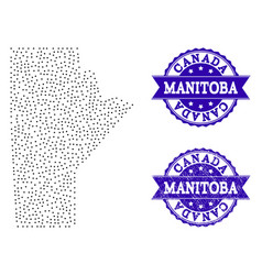 Dotted map of manitoba province and textured seal vector