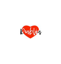 European capital city dublin love heart text logo vector