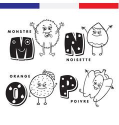 french alphabet monster hazelnuts orange vector image