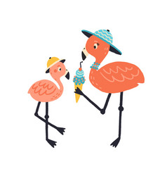 Funny cartoon mother and child flamingo eating ice vector