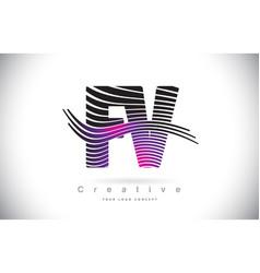 fv f v zebra texture letter logo design vector image