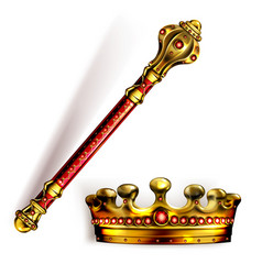 Golden scepter and crown for king or queen vector