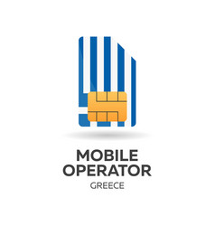 greece mobile operator sim card with flag vector image