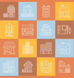 houses and buildings lineart minimal iconset on vector image