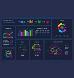 Infographic dashboard financial charts gradient vector