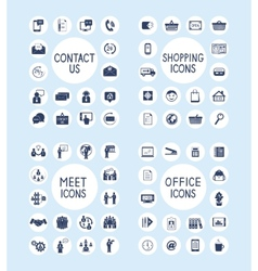 Internet Business Office and Shopping Icons Set vector image