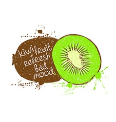 Isolated green brown kiwi fruit silhouette vector
