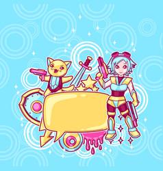 japanese anime cosplay background cute kawaii vector image