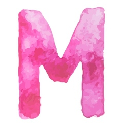 Letter M Colorful watercolor aquarelle font type vector