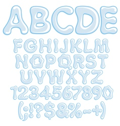 letters numbers and symbols water vector image