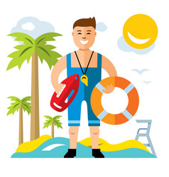 Lifeguard flat style colorful cartoon vector