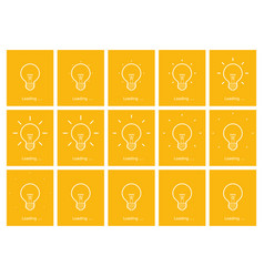 Light bulb shining outline animation sprite yellow vector