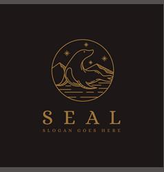 Lineart sea seal fur seal logo icon vector