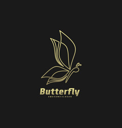 logo butterfly gold color luxury style vector image
