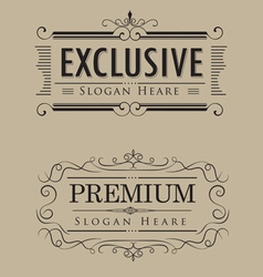 Luxury logos template vintage calligraphy elegant vector