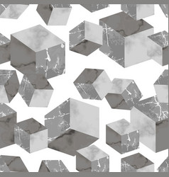 marble luxury 3d geometric seamless pattern vector image