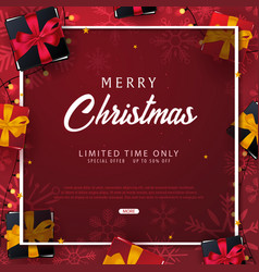 marry christmas and happy new year banner on red vector image