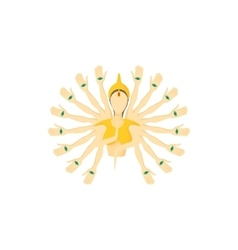Multi armed buddha icon cartoon style vector image