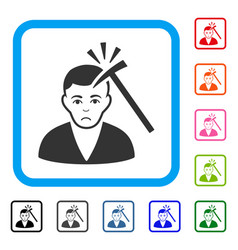 murder with hammer framed unhappy icon vector image