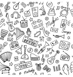 Music instruments sketch seamless pattern vector
