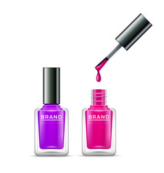 nail polish isolated glass bottle colors vector image