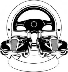 old car emblem vector image vector image