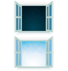 Open window - night and day vector