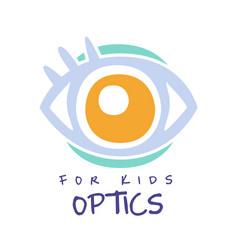 Optics for kids logo symbol oculist sign hand vector