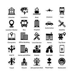 pack of maps and navigation glyph icons 1 vector image