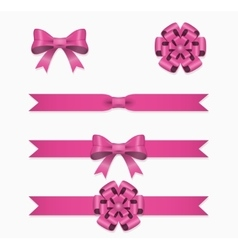 Pink ribbon and bow set for gift box vector image
